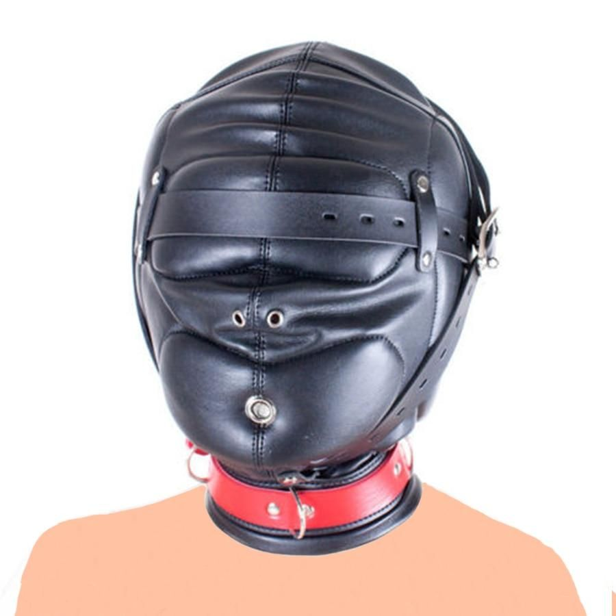 Couple Game Leather Full Head Hood Mask Blind Sensory Deprivation Restraint new