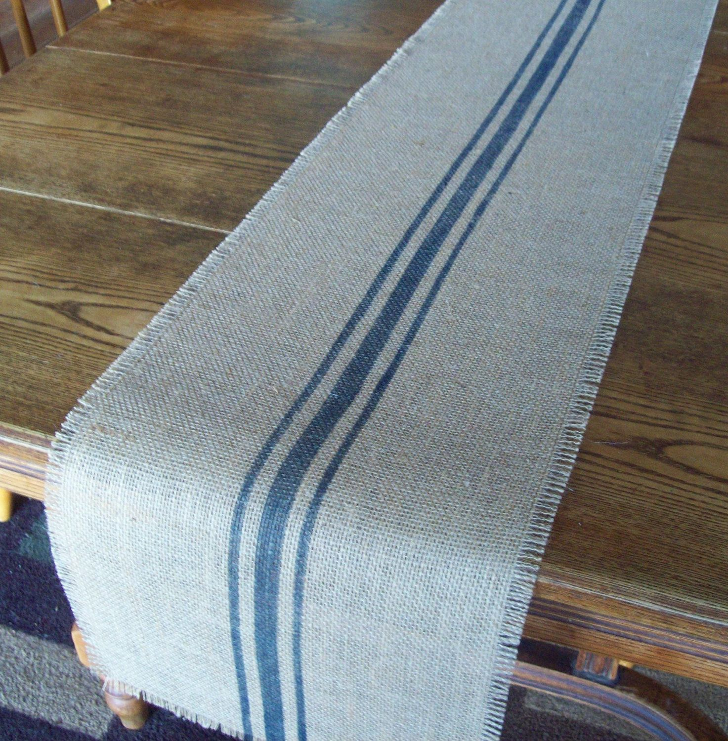 Natural Burlap Table Runner With Hand Painted Grain Sack Style Navy Blue  Stripes 12 X 72