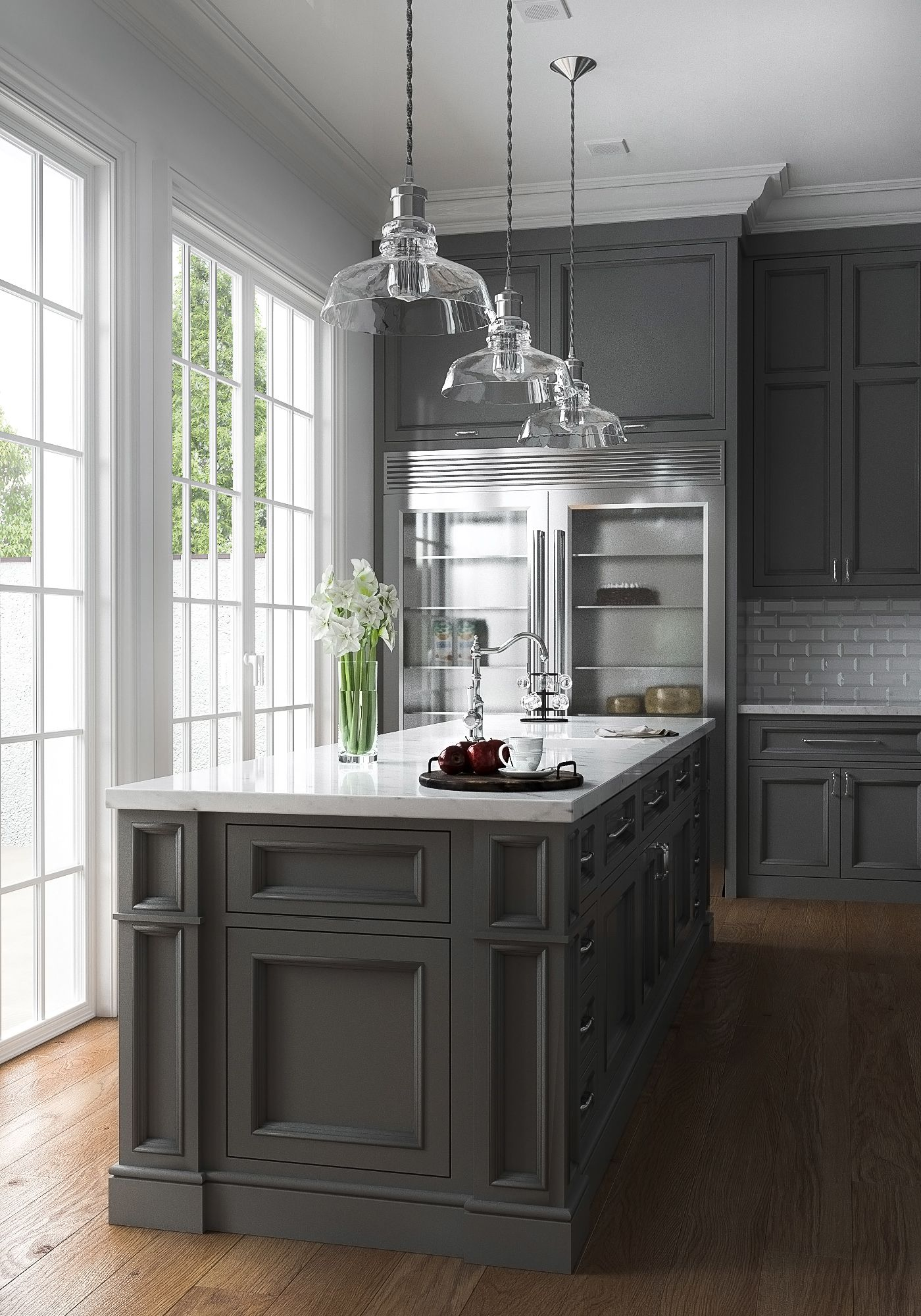 Best 3D Visualisation American Kitchen On Behance Grey 640 x 480