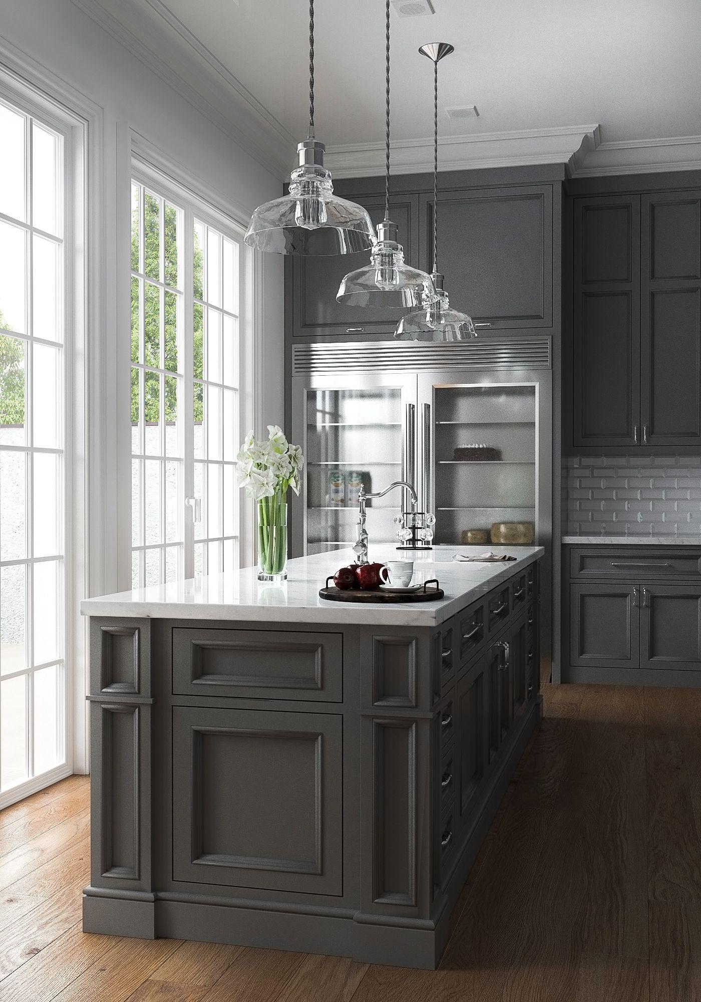 3d visualisation american kitchen on behance grey kitchen designs grey kitchen cabinets on kitchen decor grey cabinets id=38233