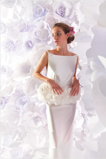 """Bridal couture """"flower garden"""" silk hand made backless column gown worn with floral peplum by Lesley de Freitas"""