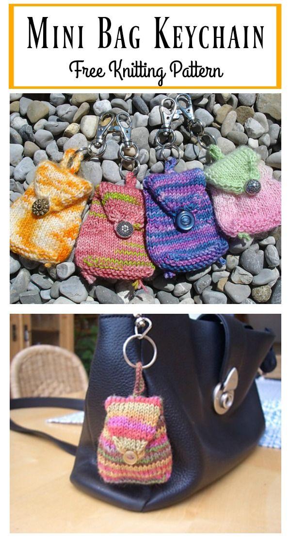 Mini Bag Keychain Free Knitting Pattern | Mini bags, Knit patterns ...