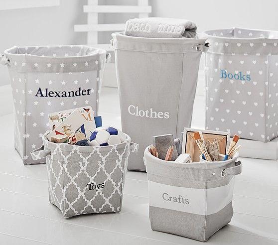 Gray Canvas Storage Kids Storage Baskets Kids Storage