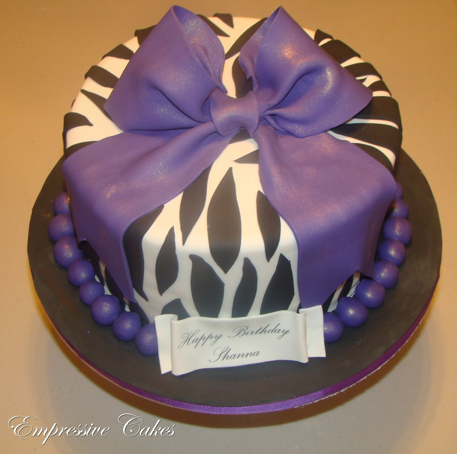purplr cheetah cake decorations Empressive Cakes Zebra Print cake