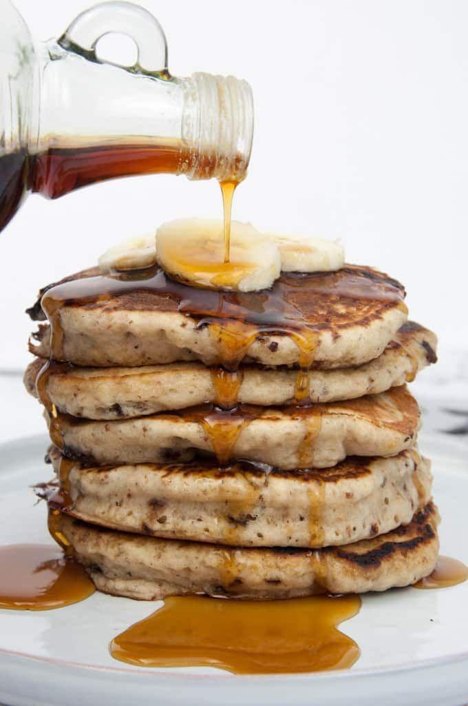 Photo of Vegan Banana Bread Pancakes with Chocolate Chunks Recipe + Video
