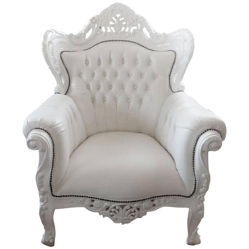 home office arm chair. French Armchair-White Leather-Bergere-Louis XV-Baroque-Rococo Style- Home Office Arm Chair