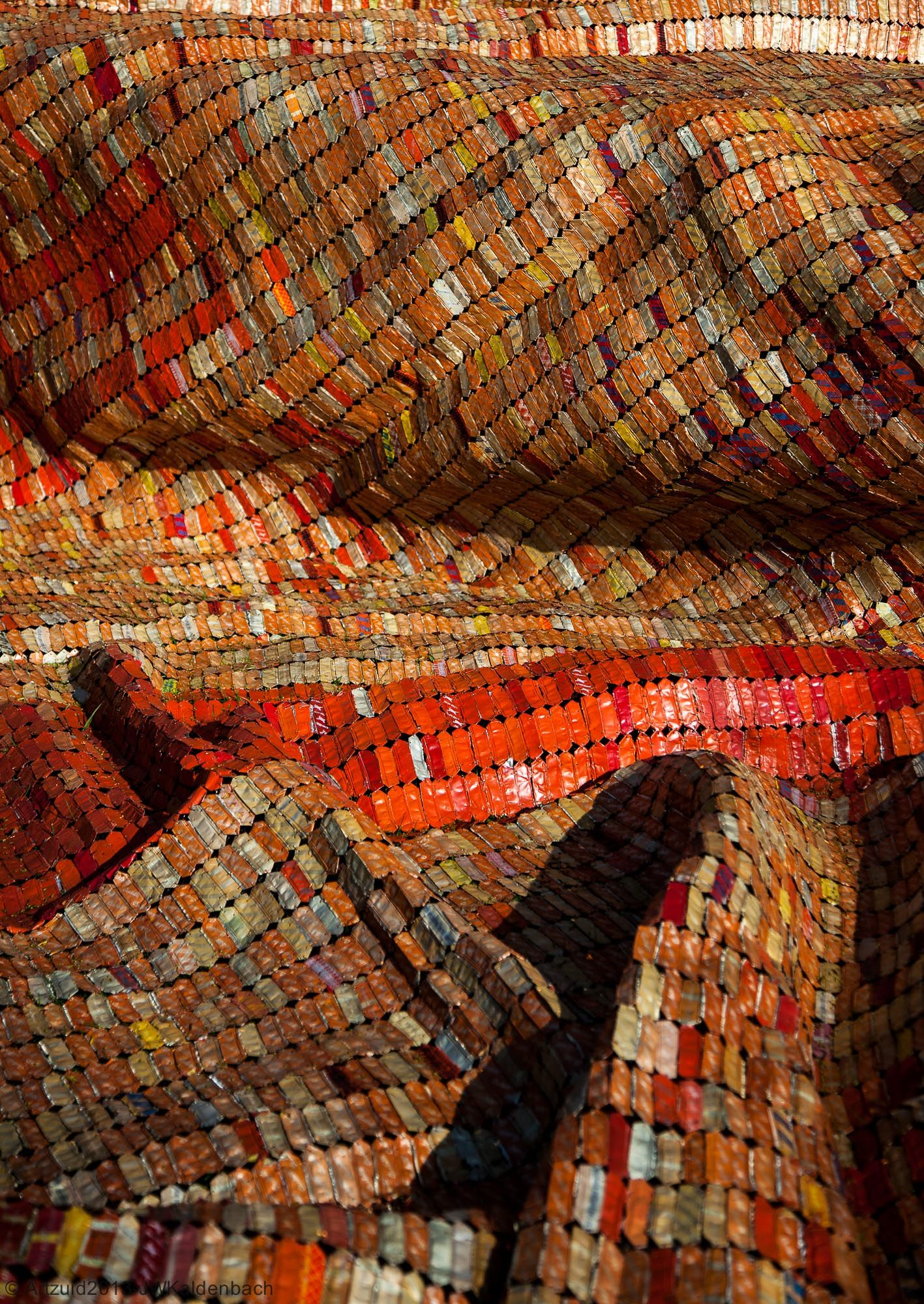 Close-up of El Anatsui's work during ARTZUID 2013
