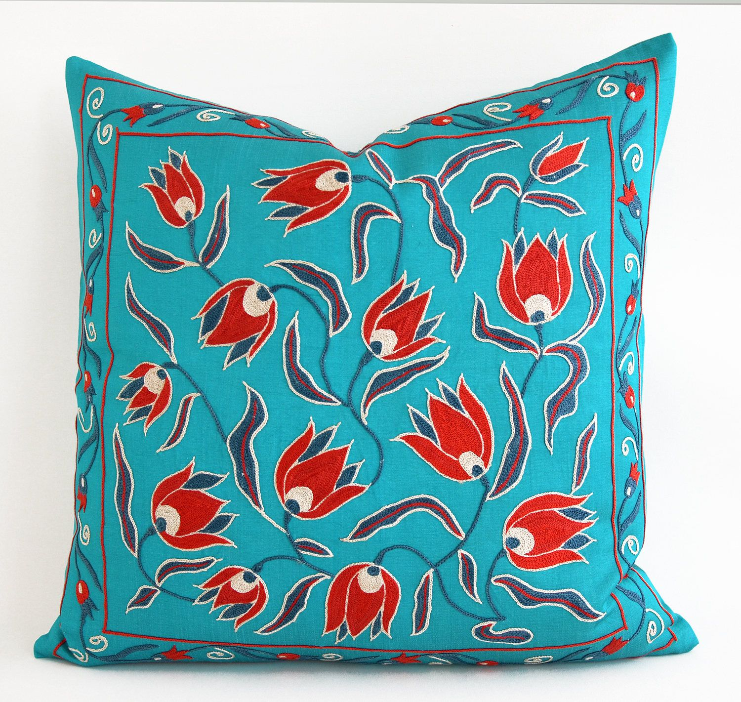 Etsy Throw Pillows Green Red Turquoise Vintage Suzani Pillow Embroidered Decorative