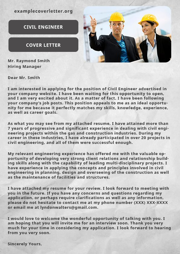 Pin by Example cover letter on Civil engineer cover letter ...