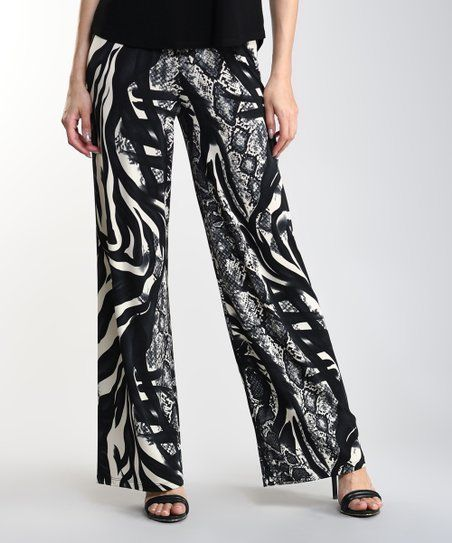 Photo of Lbisse Black Gray & Beige Reptile Palazzo Pants – Women & Plus | Zulily