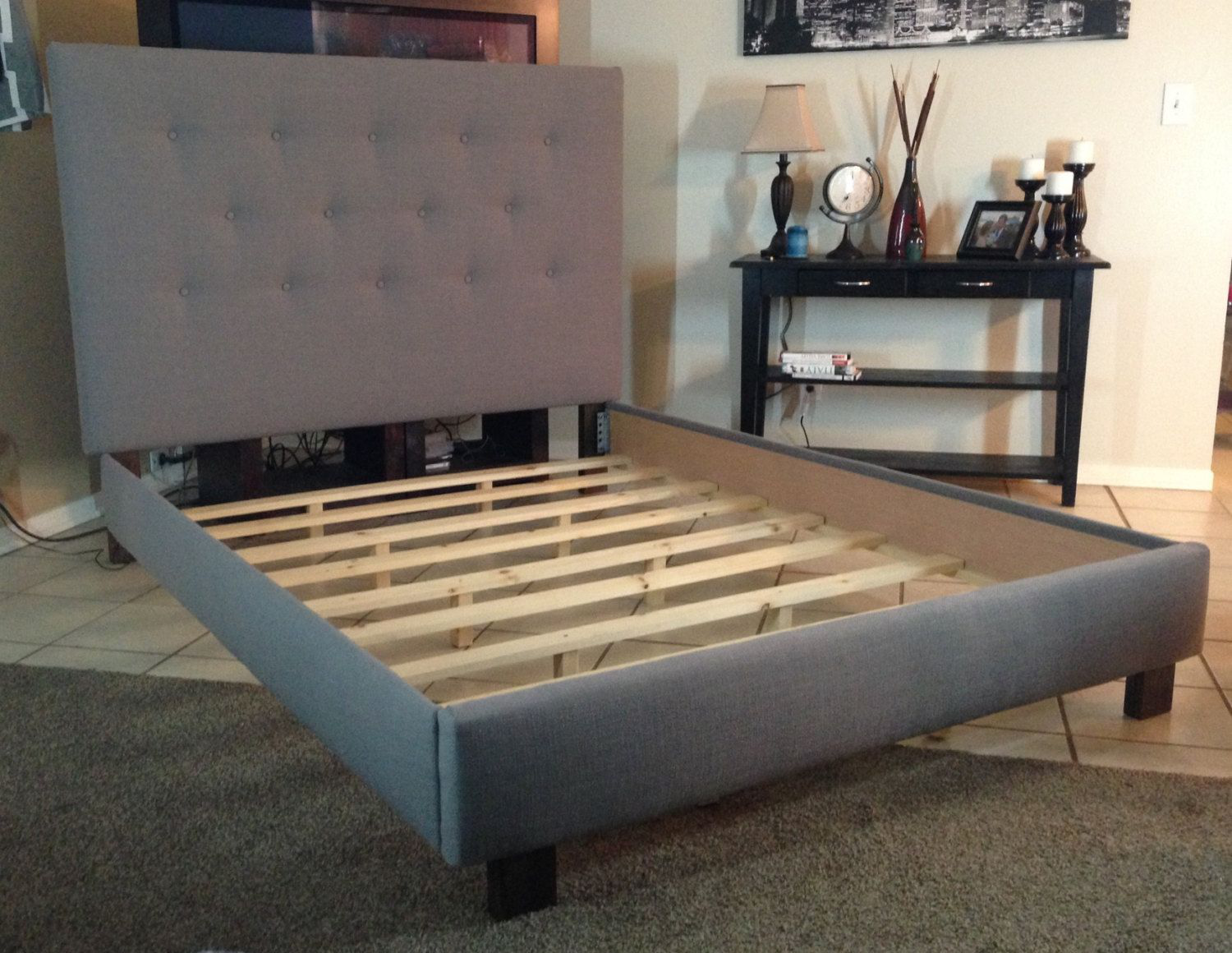 Queen or full size headboard and bed frame gray linen upholstered by