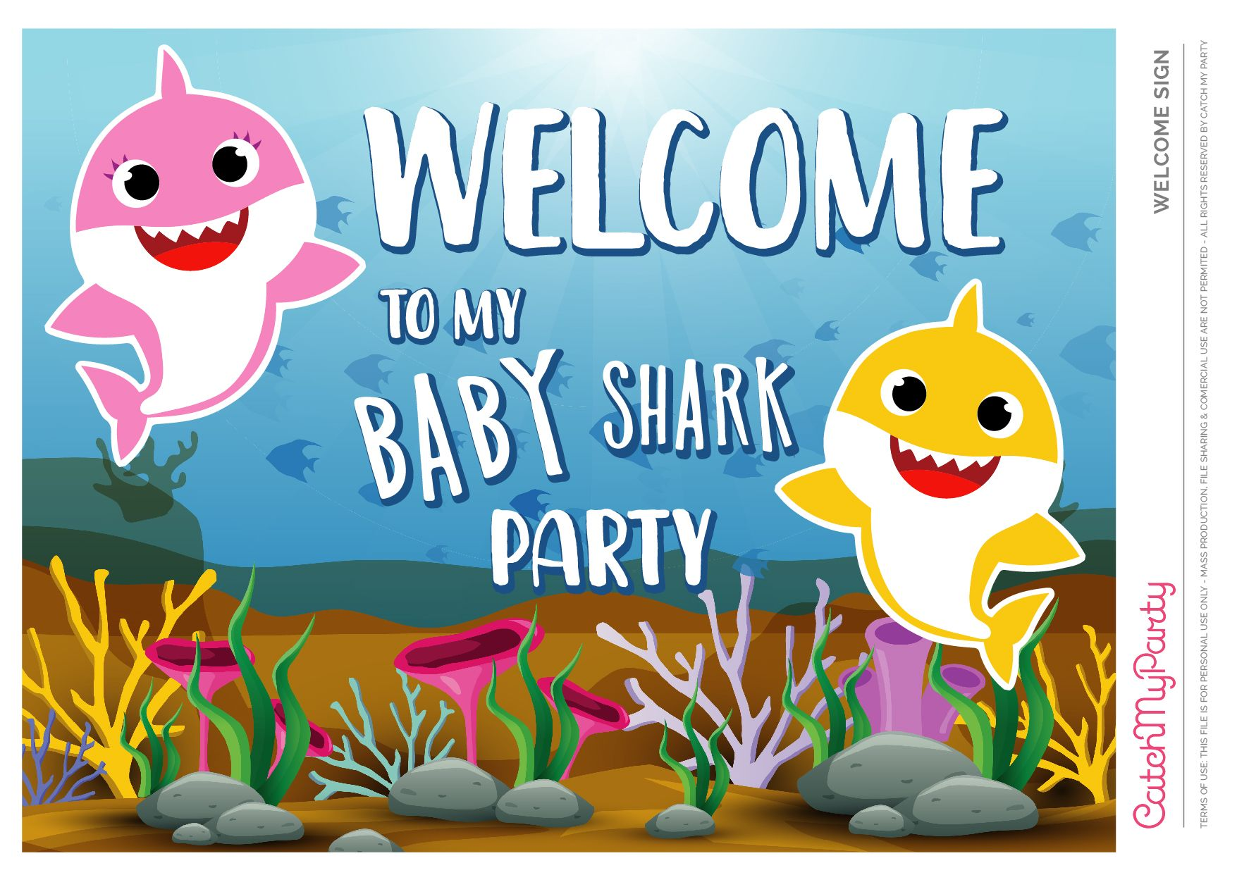 Baby Shark Blue Welcome Poster See More Party Ideas And Share Yours At Catchmyparty Shark Theme Birthday Shark Themed Birthday Party 2nd Birthday Party Themes