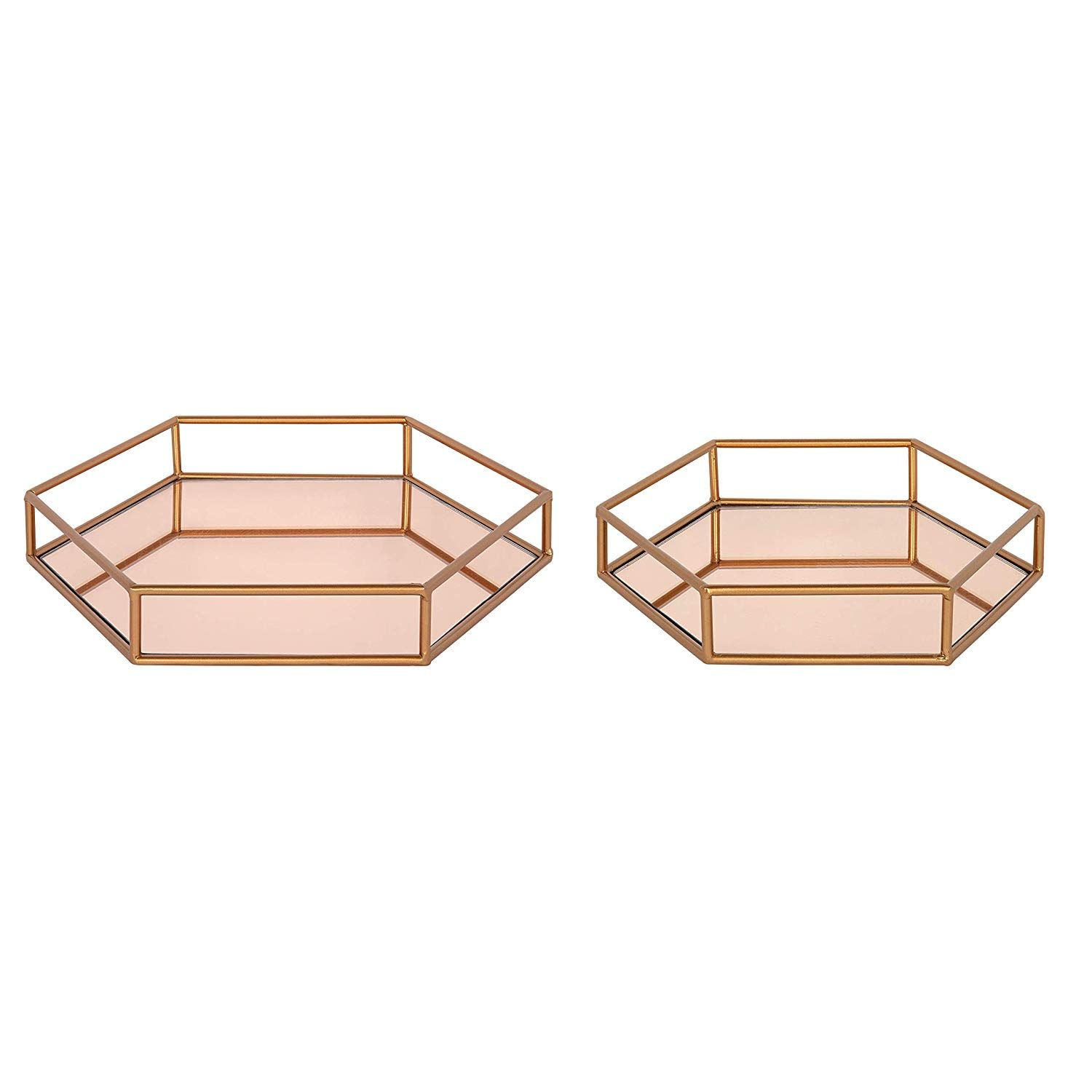 Amazon Com Kate And Laurel Felicia Nesting Metal Mirrored Decorative Trays 2 Piece Rose Gold Home Kitchen Metal Mirror Tray Decor Decorative Tray