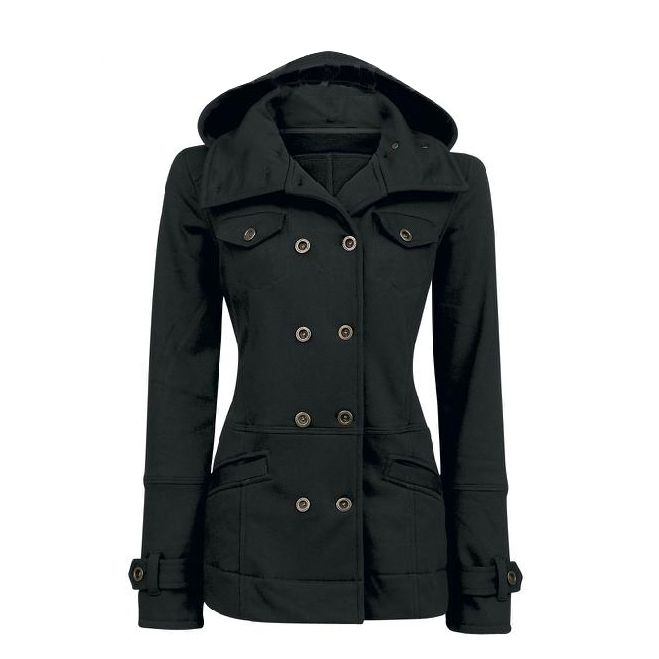 Photo of Casual Solid Color Double Breasted Cotton Slim Hoodie Coat