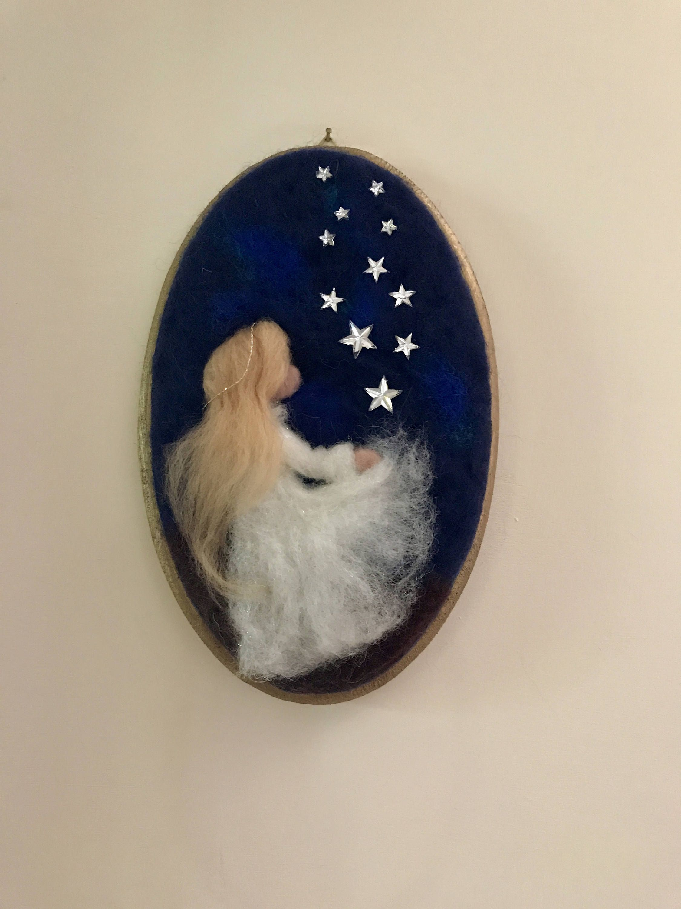 Needle felted Angel, Waldorf inspired, Wool Picture, Baby, Wall ...