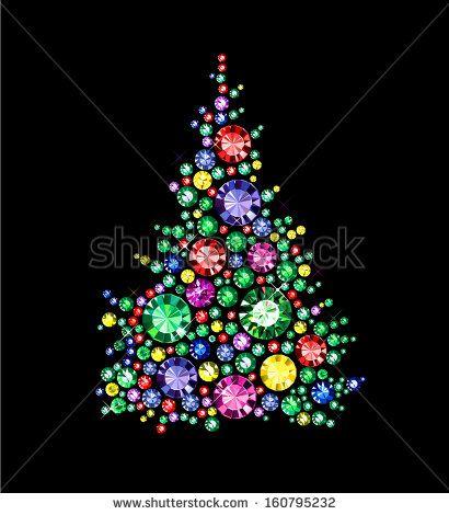 Christmas Tree Made Of Gems Christmas Tree Painting Jewelry Christmas Tree Christmas Mandala