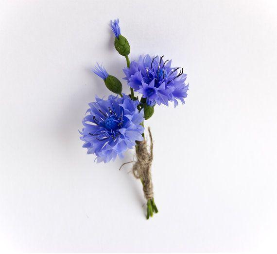 Cornflower Flower Brooch Blue Cornflower Boutonniere Wedding Etsy In 2020 Polymer Clay Flower Jewelry Polymer Clay Flowers Clay Flowers