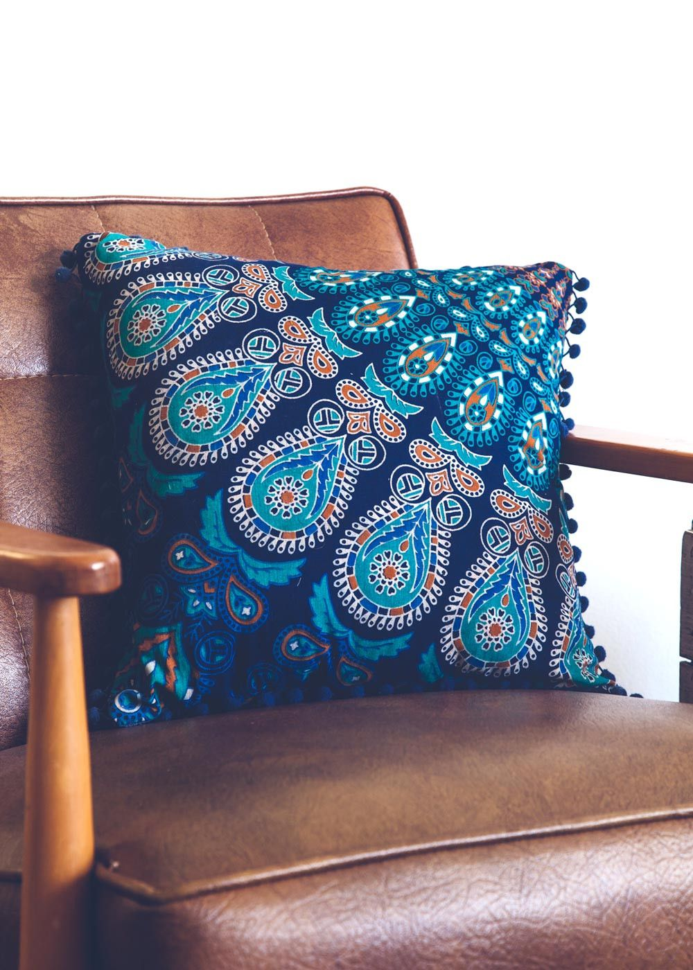 Add a hypnotic splash of color to your bed or living room with these colorful kaleidoscope-like mandala patterned cushion covers. Mix and match these with our M