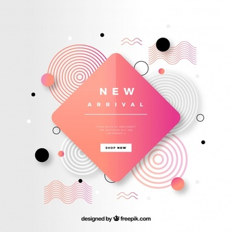 Download Abstract New Arrival Composition With Flat Design For Free Banner Design Abstract Design Flat Design