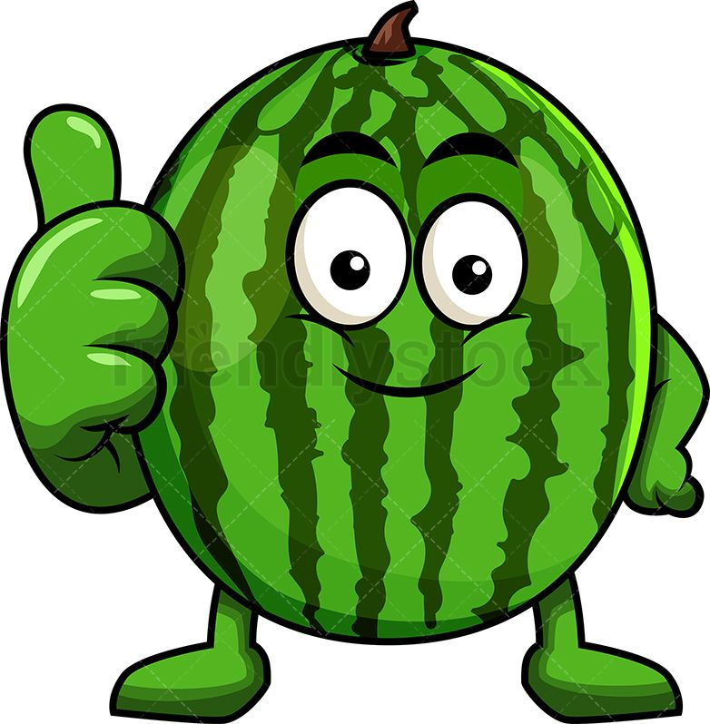 Watermelon Mascot Thumbs Up Cartoon Vector Clipart Friendlystock Watermelon Cartoon Cartoon Clip Art Baby Animal Drawings