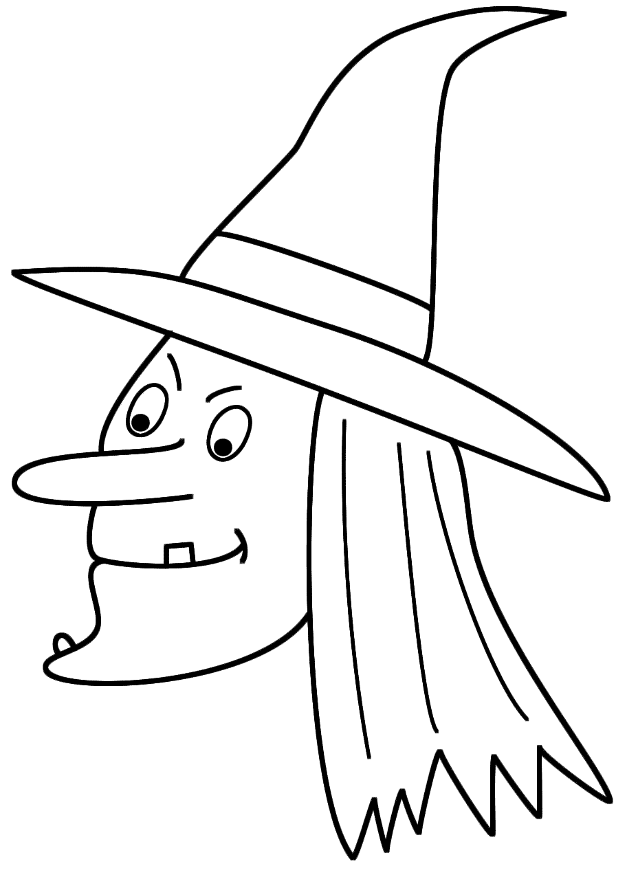 Witch Face Coloring Pages