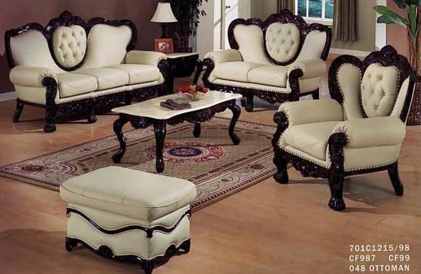Victorian Leather Living Room Set In Ivory And Brown Living