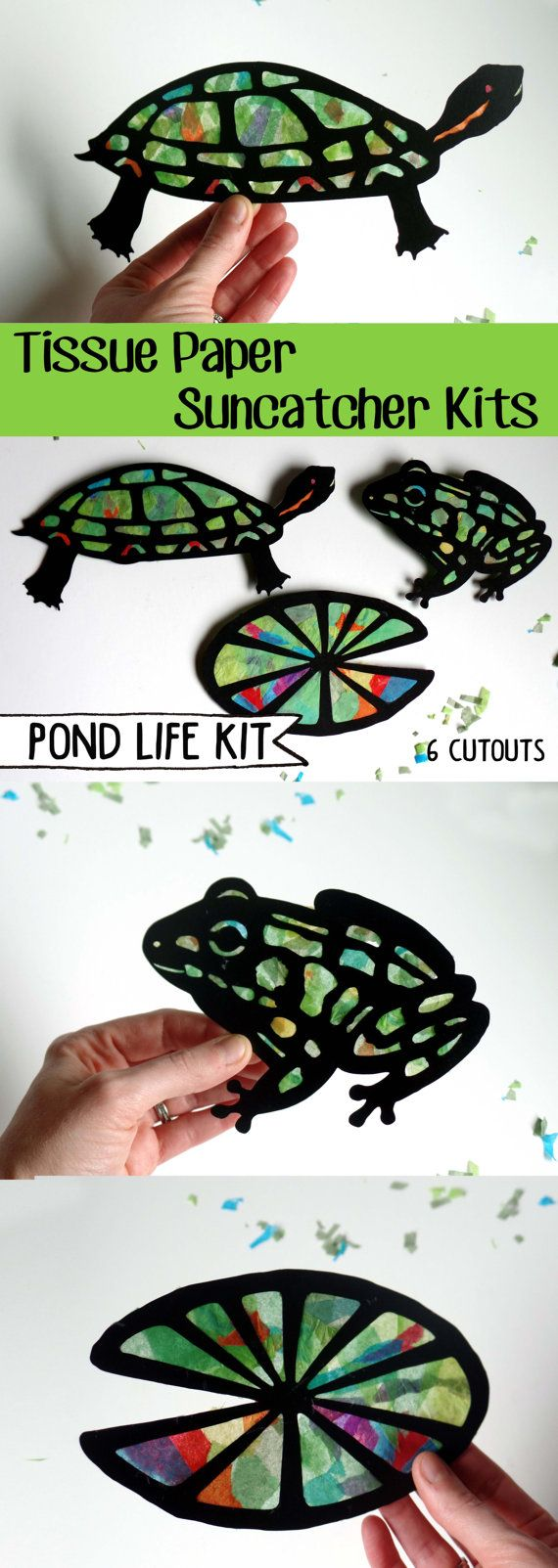 kids craft pond life stained glass tissue paper suncatcher. Black Bedroom Furniture Sets. Home Design Ideas