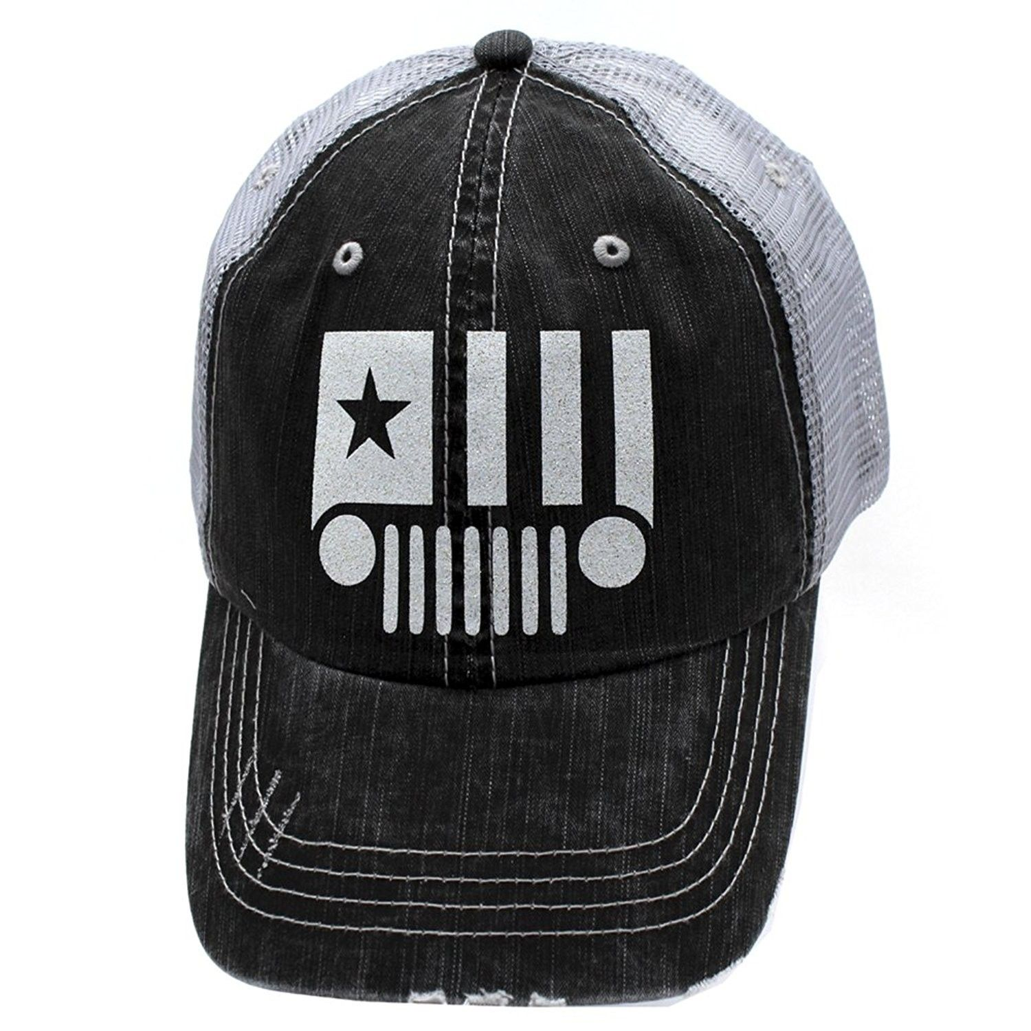 Jeep Starter Glittering Trucker Style Cap Hat Grey Grey White Cu12nh7cgxh Caps Hats Hat Designs Hats For Men