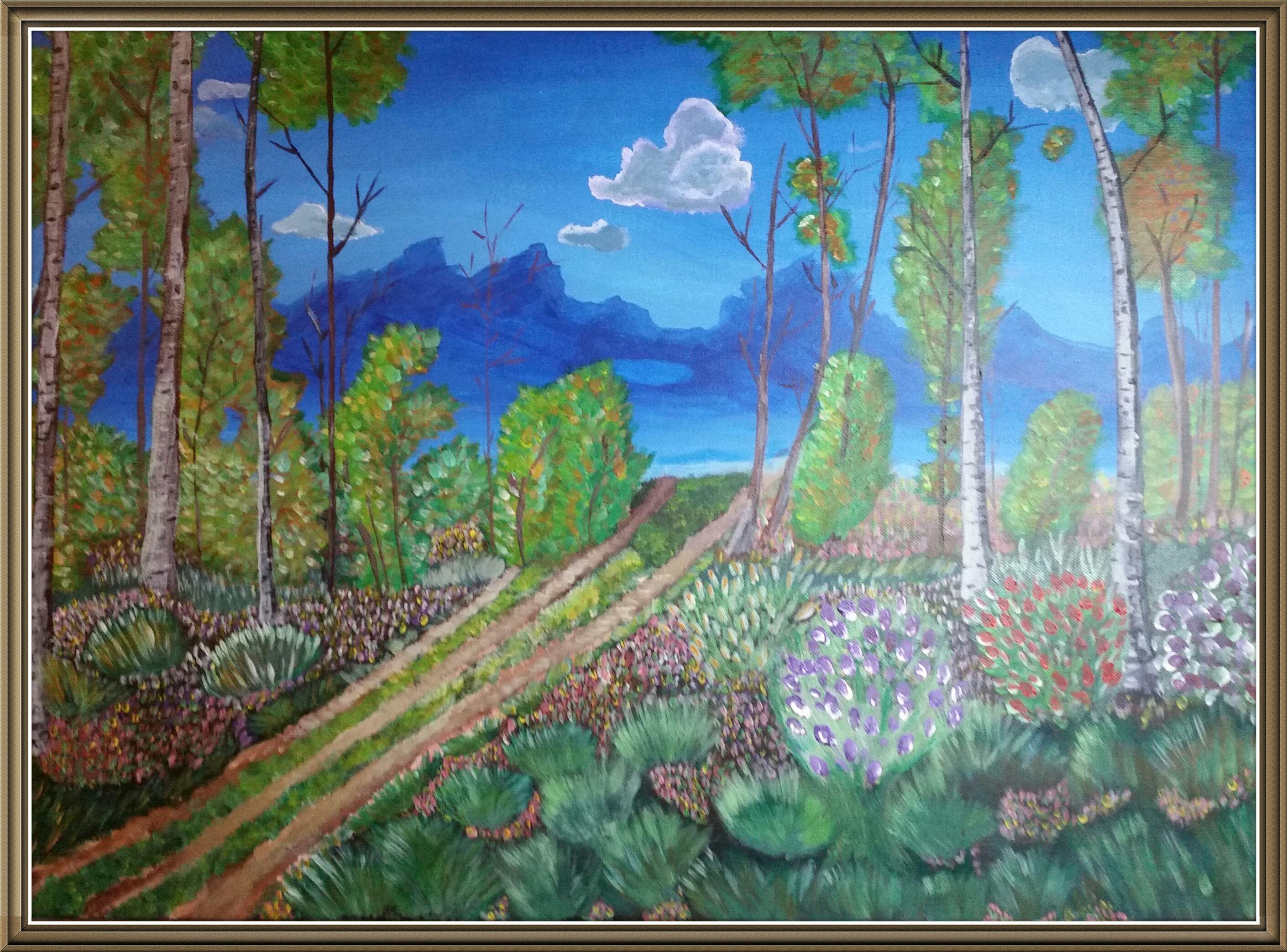 Peinture Acrylique Tableau Foret Arbre Fleur Ciel Montagne Nuage