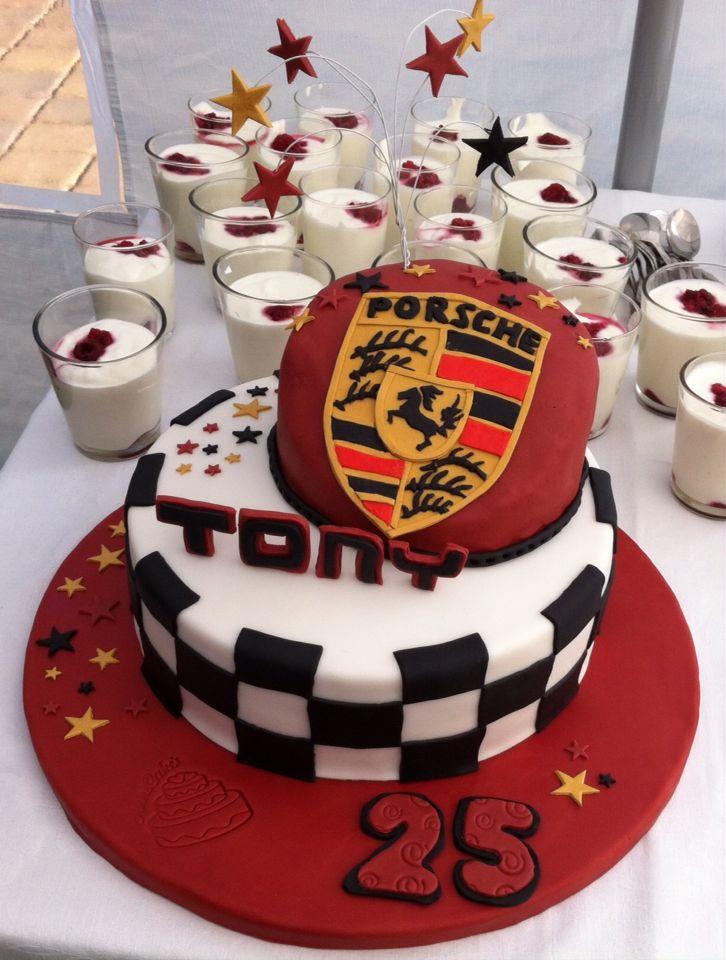 Porsche Fondant Torte Mit Logo Zum 25 Geburtstag Kuchen Torten