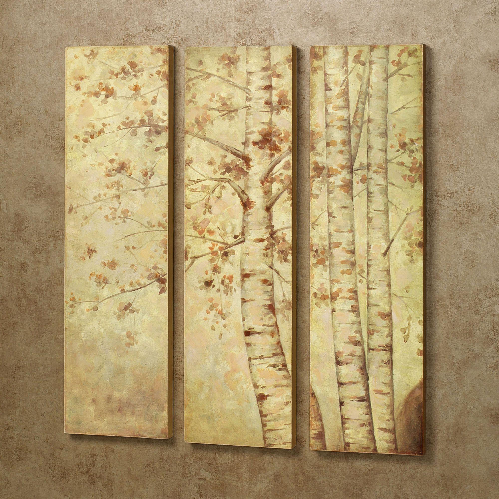 Fall Leaves Wooden Triptych Wall Art Set | Triptych wall art, Wall ...