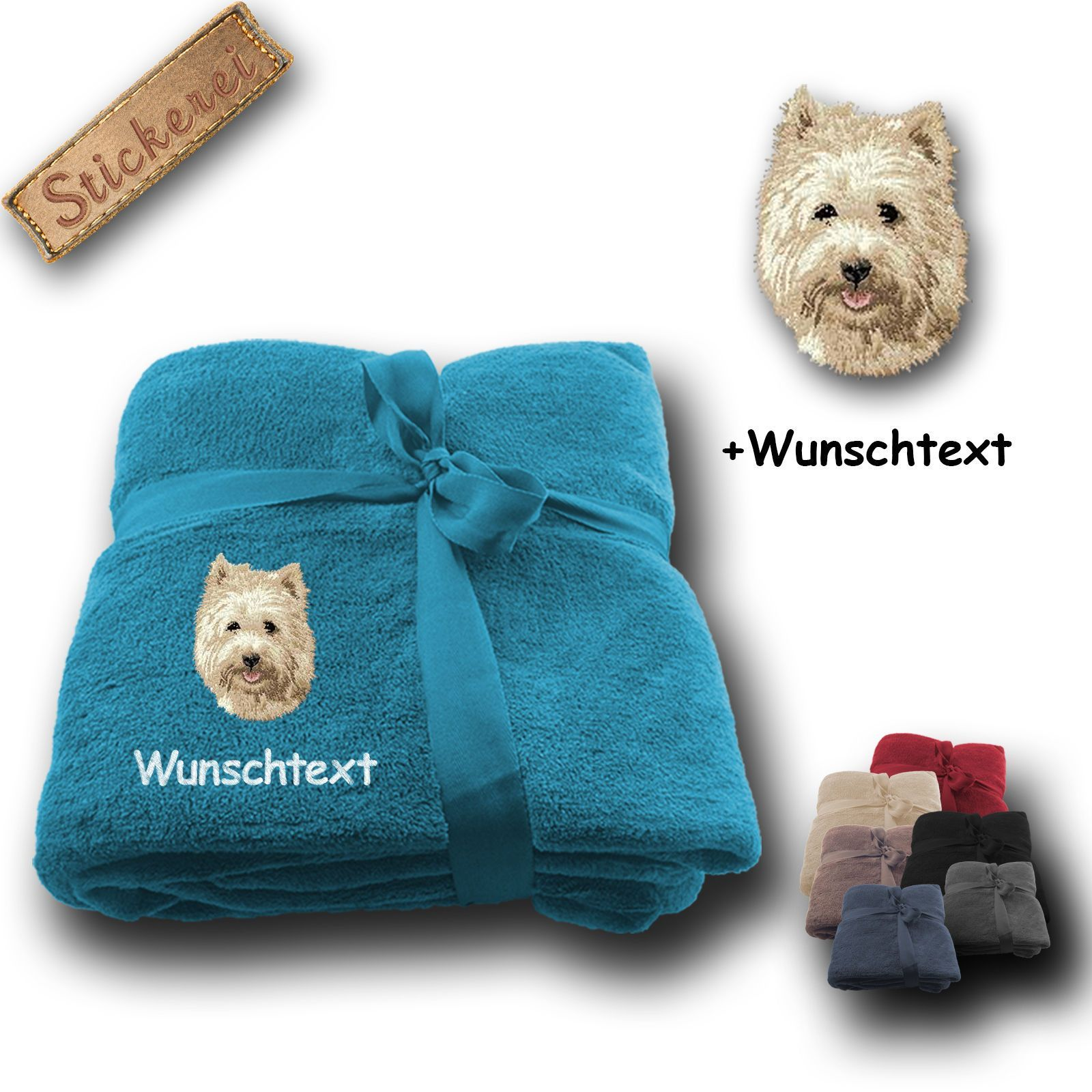 Fleecy Cuddle Blanket Dog Cairn Terrier +Custom Text