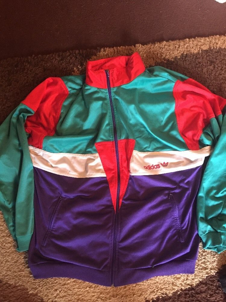 464297e78e5fc7 Adidas Vintage Tracksuit Top Jacket Large - XL Retro 90s Three ...