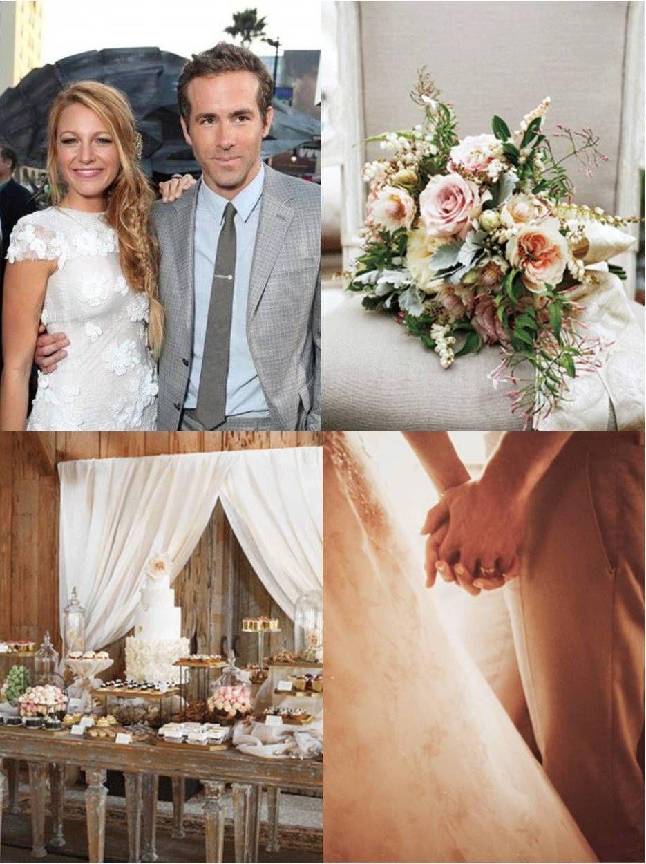 ¡Finalmente! Primeras imágenes de la boda de Blake Lively y Ryan Reynods... El bouquet de la novia, la mesa de postres y una tierna imagen de la pareja tomados de las manos. Al menos ahora, con esa última foto, podemos imaginar cómo fue el resto del vestido Marchesa que usó Blake
