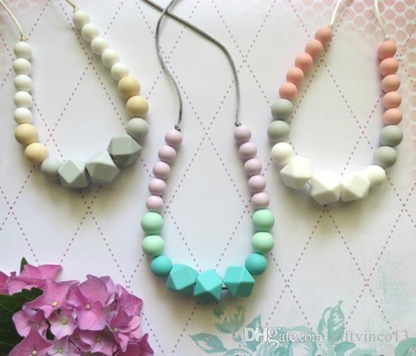 BPA Free Baby Silicone Teething Necklace-Safe Kid Teether Nursing Beads Pendant