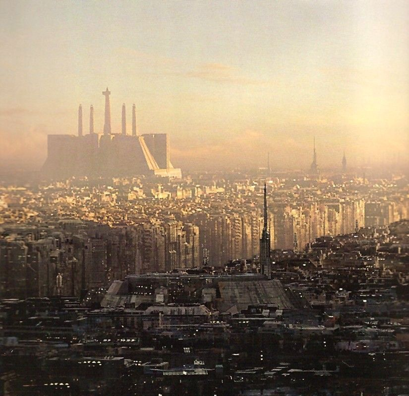 Jedi Temple neighborhood in Galactic City (Corruscant). Concept art for Star Wars.