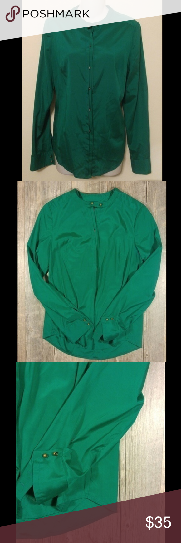 b264dd127e094 Green silk blouse Emerald green silk blouse. Hidden buttons all the way  down. Long sleeve. 93% silk