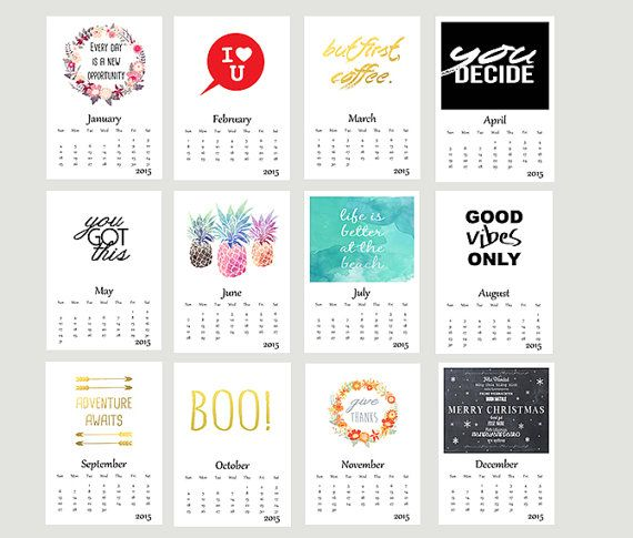 Printable calendar 2015 inspirational quotes calendar diy calendar desk calendar wall calendar