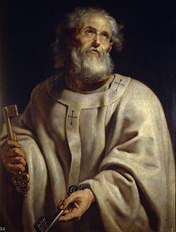"""PIETARI ✦ Johti Jaakobin kanssa Jerusalemin alkuseurakuntaa, johon kuului kristityiksi kääntyneitä juutalaisia. Käteen kuvattuna """"Taivasten valtakunnan avaimet"""", jotka Jeesus hänelle antoi Matteuksen evankeliumissa -> pidetään ensimmäisenä paavina"""