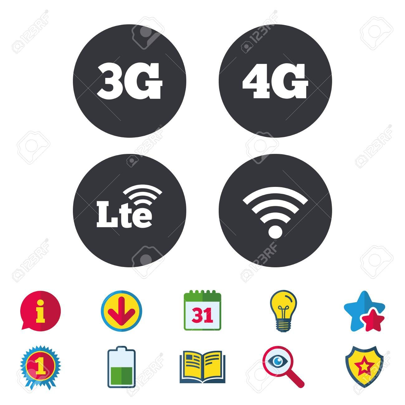Mobile Telecommunications Icons 3g 4g And Lte Technology Symbols Wi Fi Wireless And Long Term Evolution Signs Cale Book Icons Pattern Drawing Download Sign