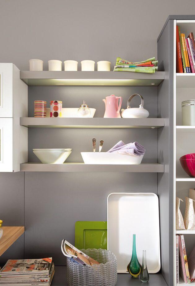 Küchenregal zwischen Hochschrank und Hängeschrank Küche Pinterest