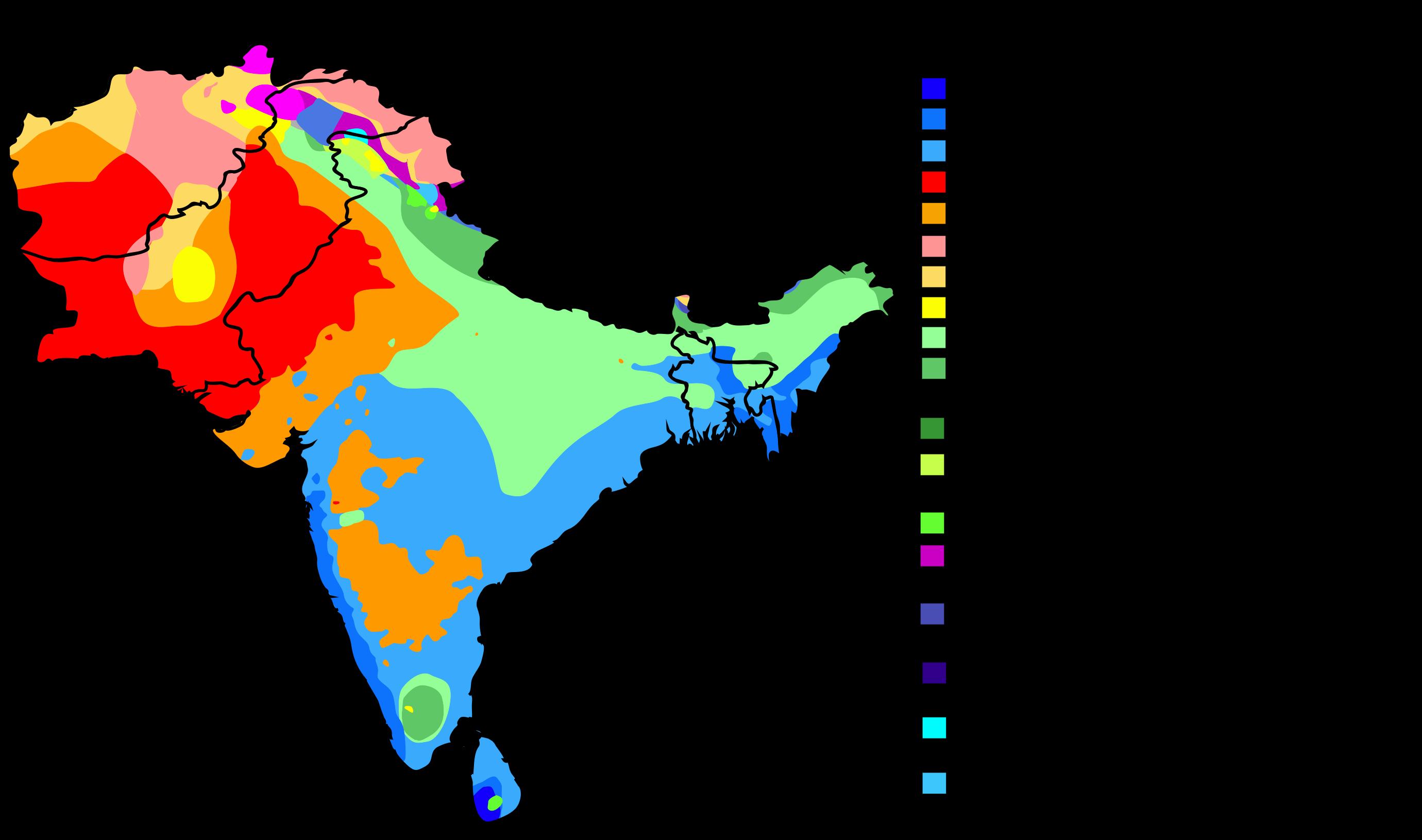 South Asia map of Köppen climate classification | koppen