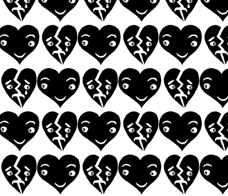 #SFDesignADay block print hearts black and white, large scale fabric - amy_g - Spoonflower