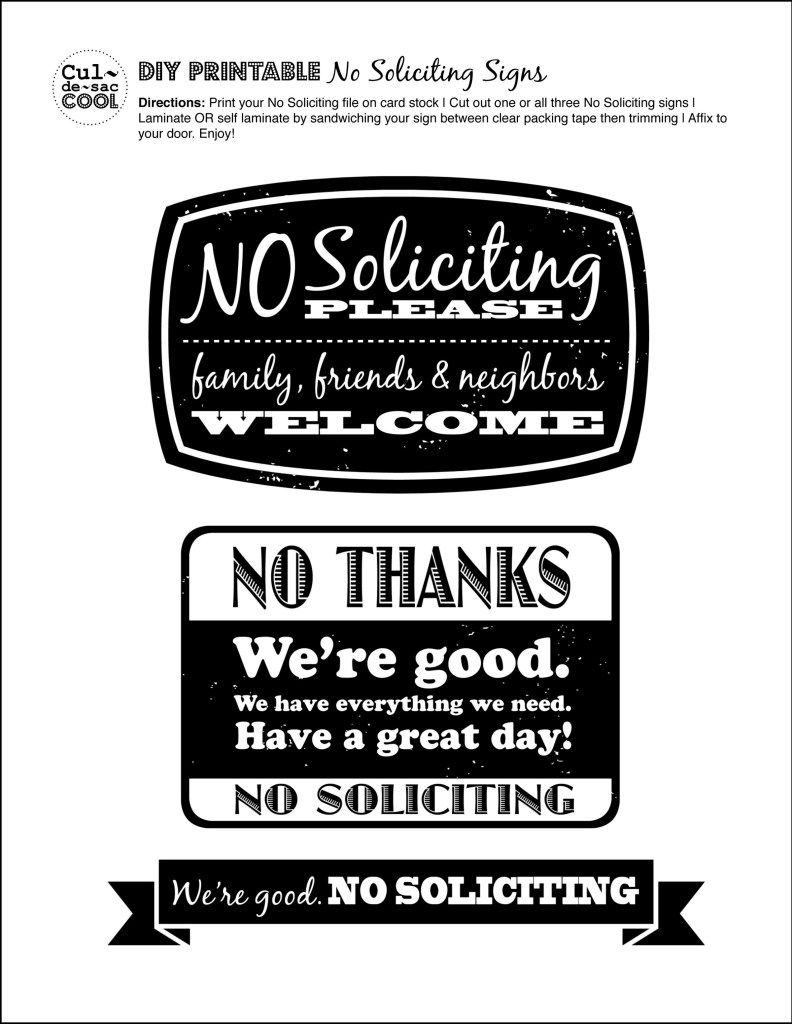 DIY Printable No Soliciting Signs