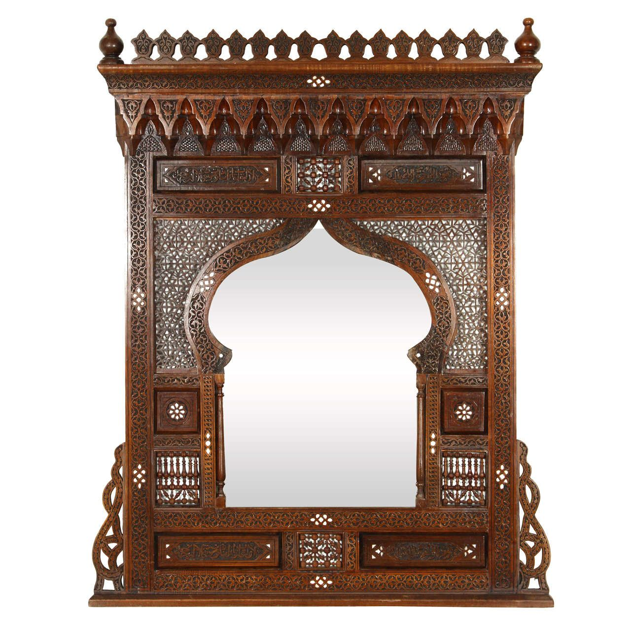 wooden mirror Luxurious handmade mirror mother of pearl inlaid Wall mirror Moroccan mirror decor Mirror Syrian style mirror