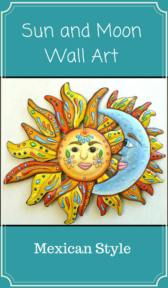 Colorful Mexican looking sun and moon to hang on the wall, inside or ...