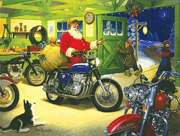 Santa And His Cafe Racer Motorcycle Biker Christmas Card
