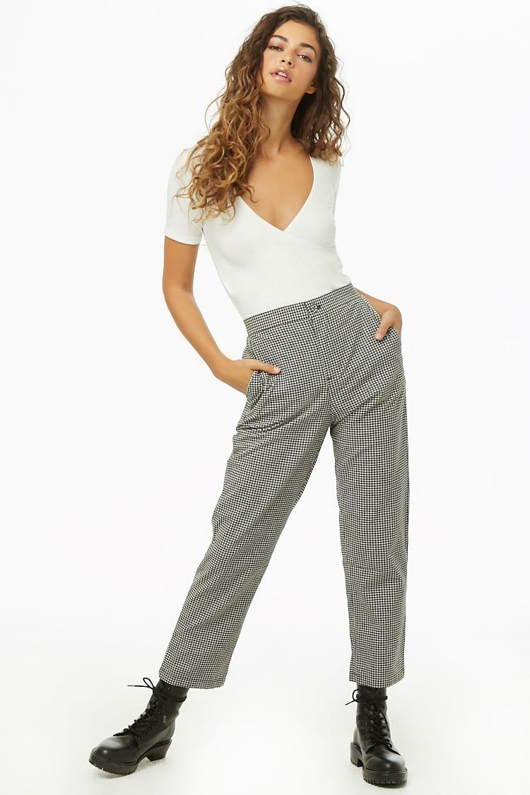 839794bd89f9 Gingham Cropped Pants