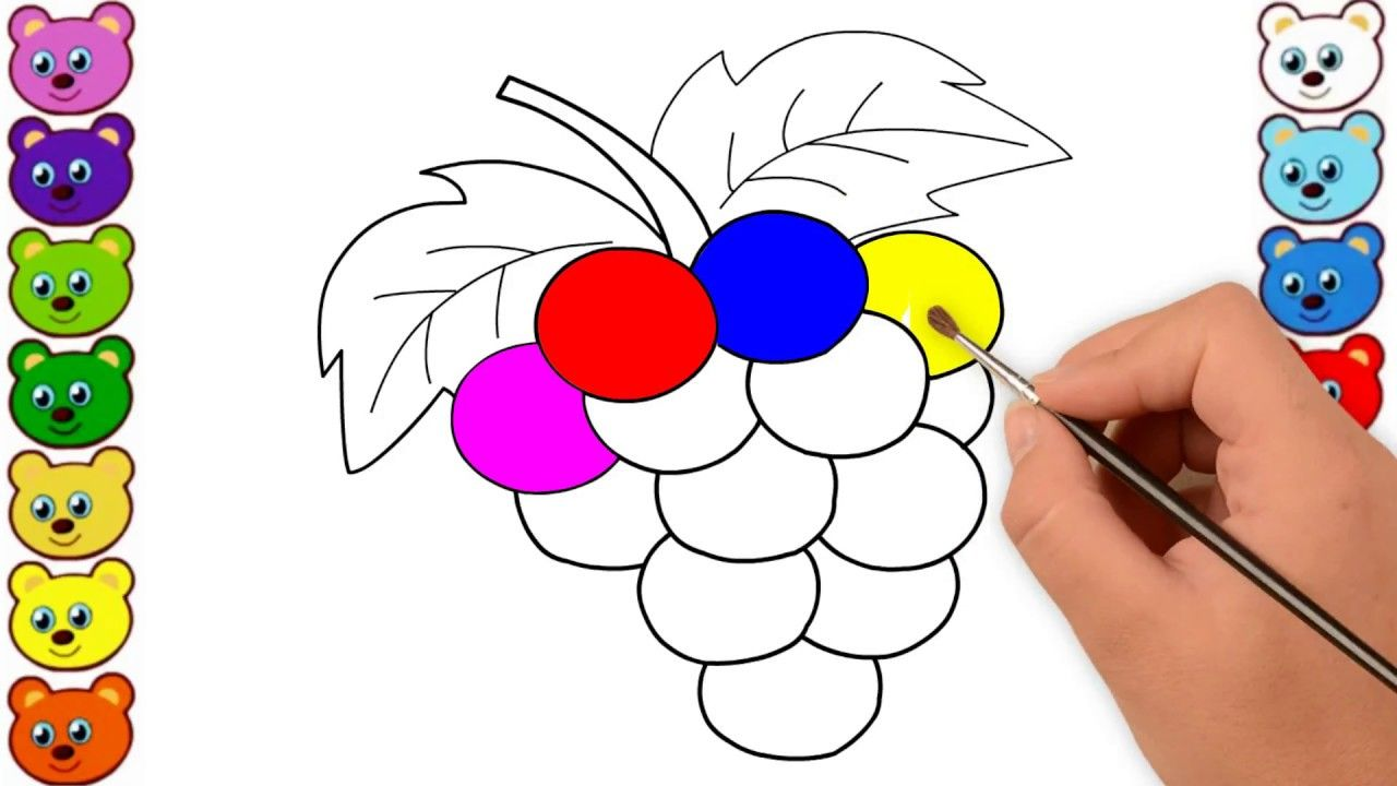Grapes Drawing And Coloring For Kids Rainbow Colored Grapes Learn Colors With Images Grape Drawing Coloring For Kids Learning Colors