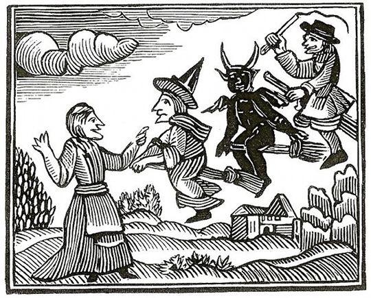 Grabado de las 'Maravillas del mundo invisible' de Cotton Mather (1689).